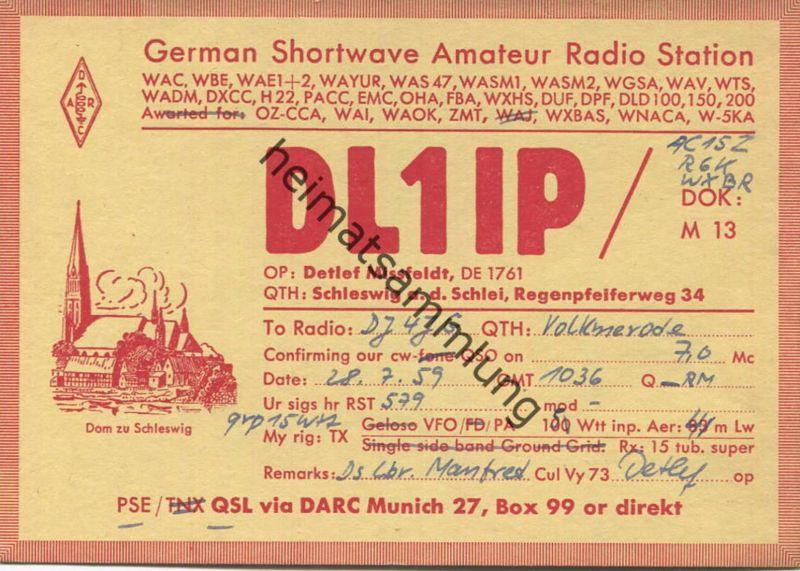 QSL - Funkkarte - DL1IP - Schleswig - 1959