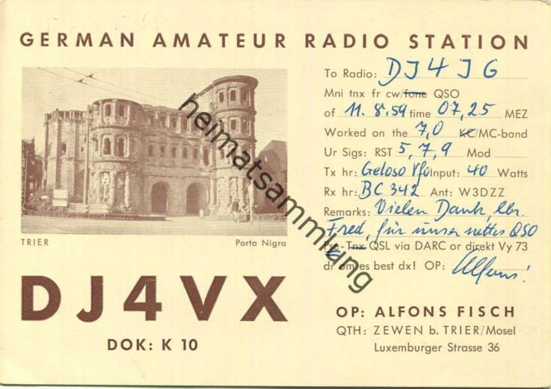 QSL - Funkkarte - DJ4VX - Trier - 1959