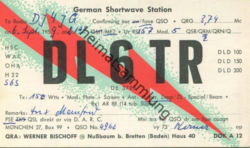 QSL - Funkkarte - DL6TR - Nussbaum bei Bretten - 1959