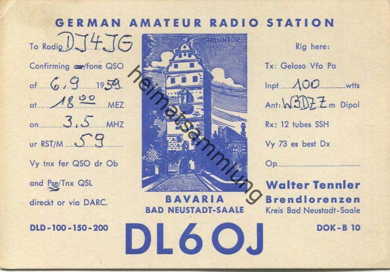 QSL - Funkkarte DJ3GW - Bad Neustadt Brendlorenzen 1959