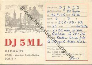 QSL - Funkkarte - DJ5ML - Vohenstrauss - 1959 gel. 1959