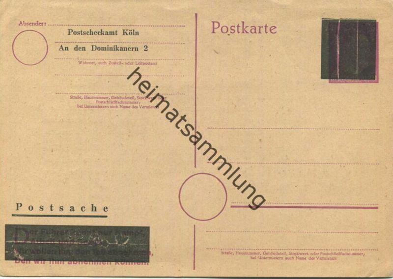 1946 Hitler 6 Pf Ganzsachenkarte Aufbrauch vom Postscheckamt Köln
