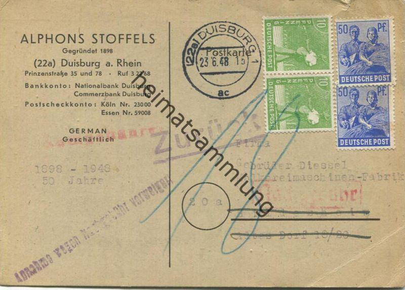 Portorichtige 10fach Frankatur - Pfg 120 - Gültigkeit endete jedoch am 23.06.48 mit der ersten Briefkastenleerung - desh