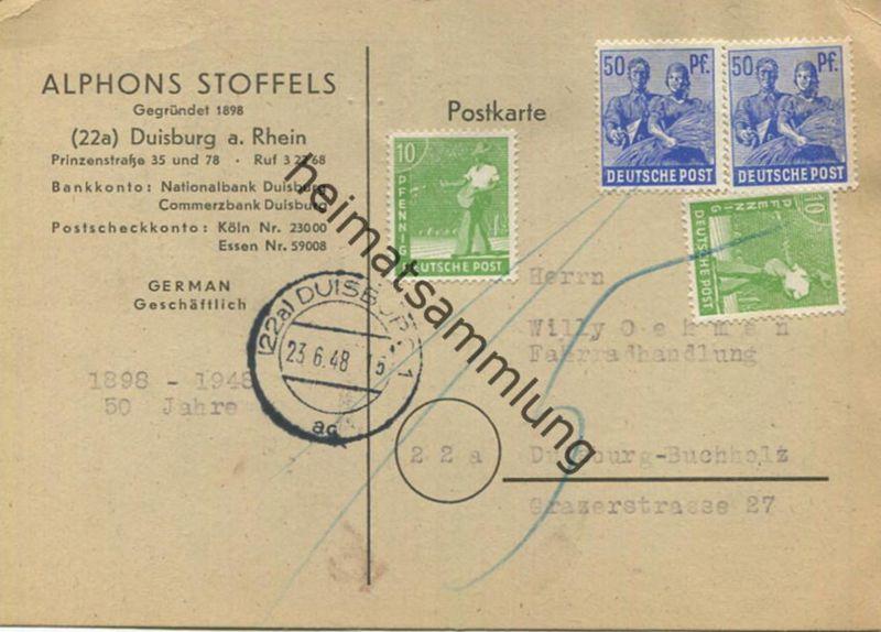 Portorichtige 10-fach Frankatur - Pfg 120 - Gültigkeit endete jedoch am 23.06.48 mit der ersten Briefkastenleerung - des