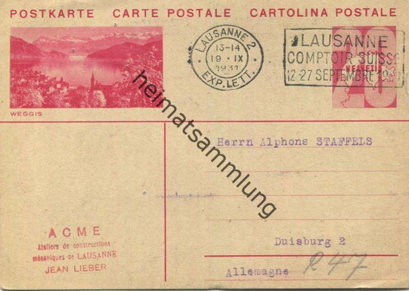 Weggis - Bild-Postkarte - Ganzsache - gel. 1931