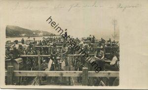 Truppentransport auf der Donau am 3. und 4. Juni 1915 - von Österreich nach Ungarn - mit Zugmaschinen - Foto-AK - Feldpo