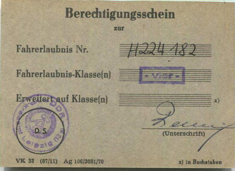 DDR - Berechtigungsschein - Fahrerlaubnis vier