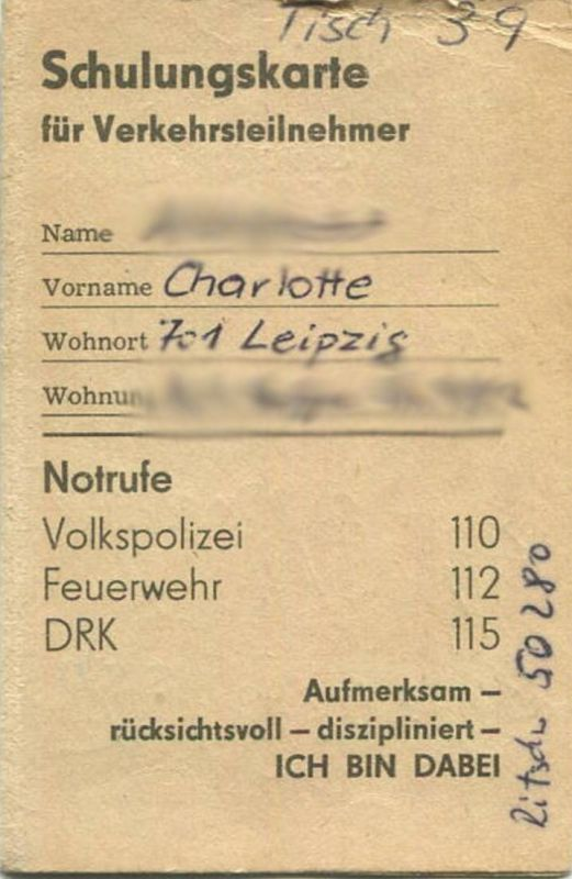DDR - Schulungskarte für Verkehrsteilnehmer