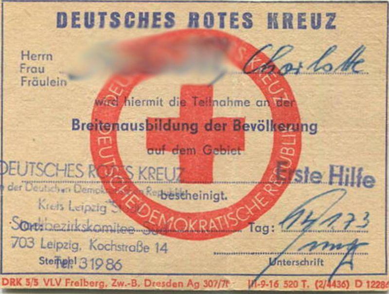 DDR - Deutsches Rotes Kreuz - Breitenausbildung der Bevölkerung - Erste Hilfe Schein 1973