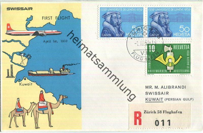 Swissair - First Flight - Zürich-Kuwait 1959