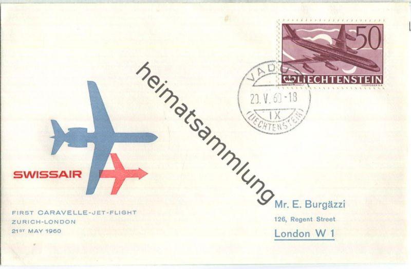 Swissair - First Jet Flight - Caravelle - Vaduz-London 1960
