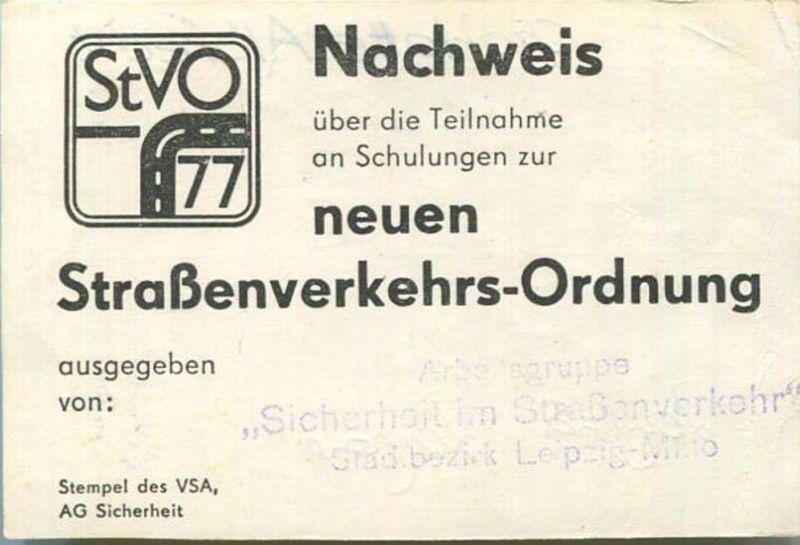 DDR - Nachweis über die Teilnahme an Schulungen zur neue Straßenverkehres-Ordnung