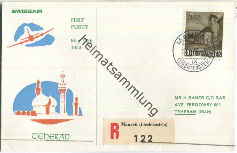 Swissair - First Flight - Mauren-Teheran 1959