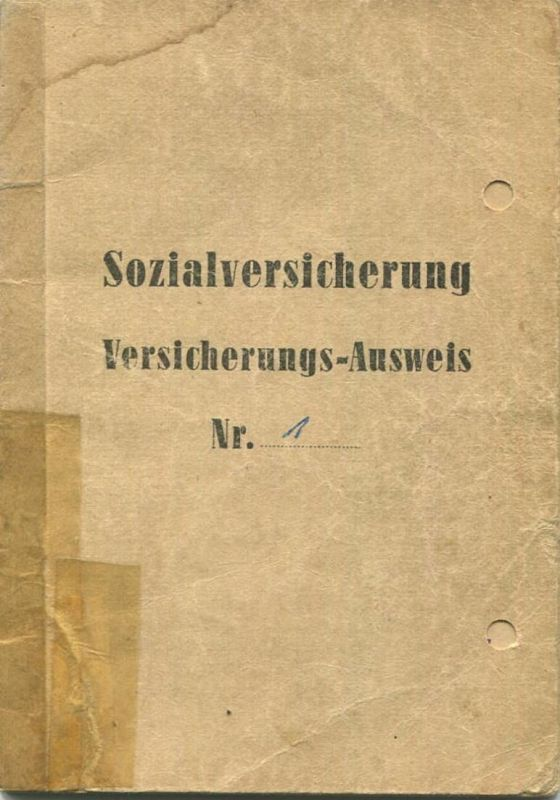DDR - Sozialversicherung - Versicherung-Ausweis 60er Jahre