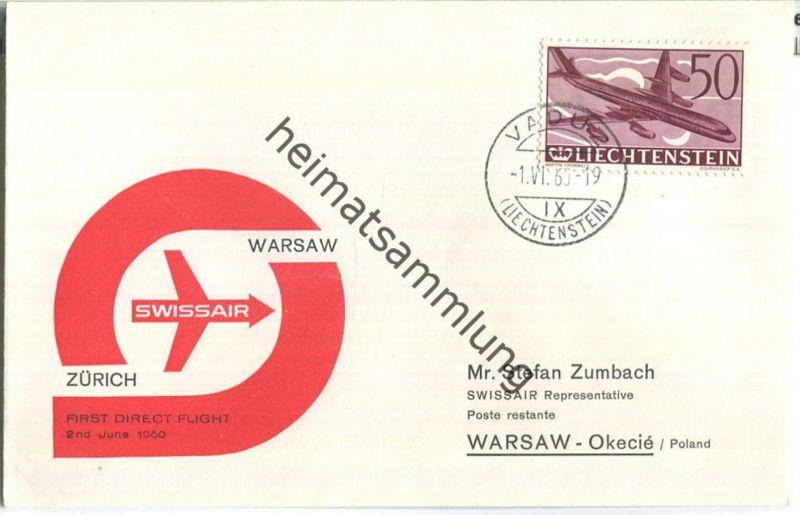 Swissair - First Direct Flight - Vaduz-Warsaw 1960
