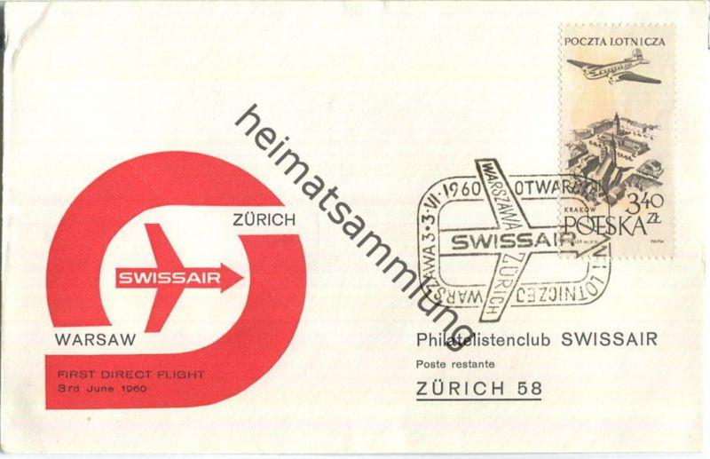 Swissair - First Direct Flight - Warsaw-Zürich 1960