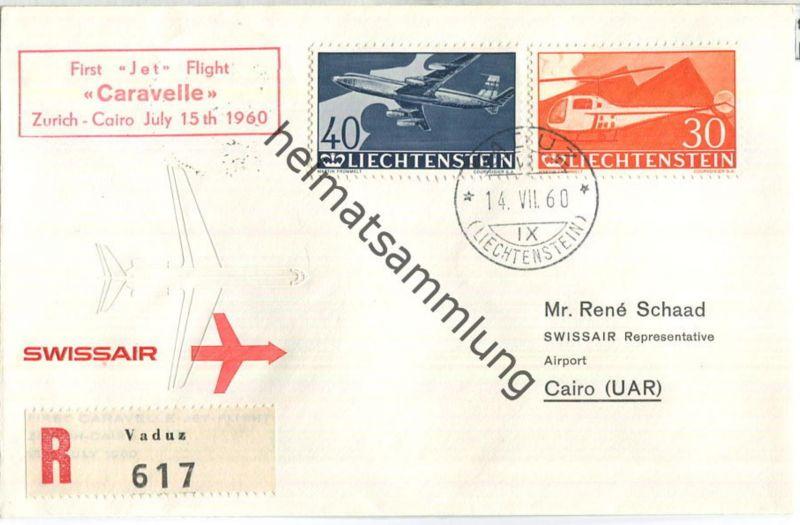 Swissair - First Jet Flight - Caravelle - Vaduz-Cairo 1960