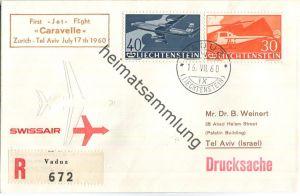 Swissair - First Jet Flight - Caravelle - Vaduz-Tel Aviv 1960