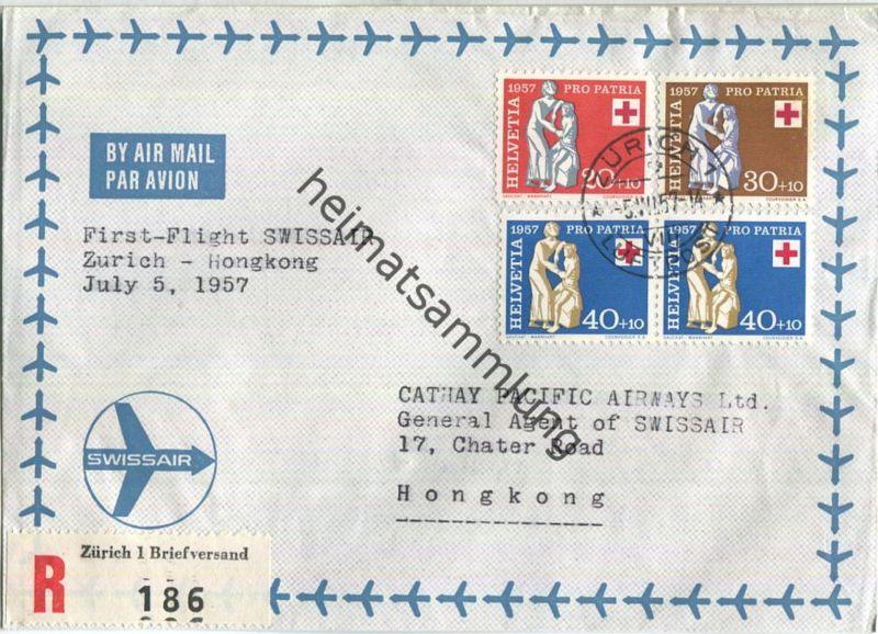 Swissair - First Flight - Zürich-Hong Kong 1957