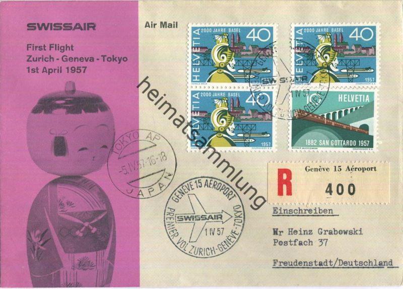 Swissair - First Flight - Genf-Tokio 1957