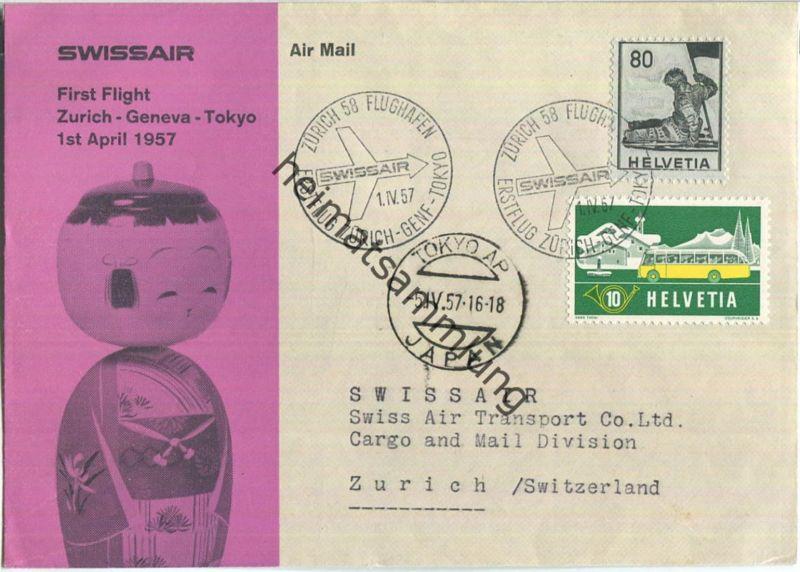 Swissair - First Flight - Zürich-Tokio 1957