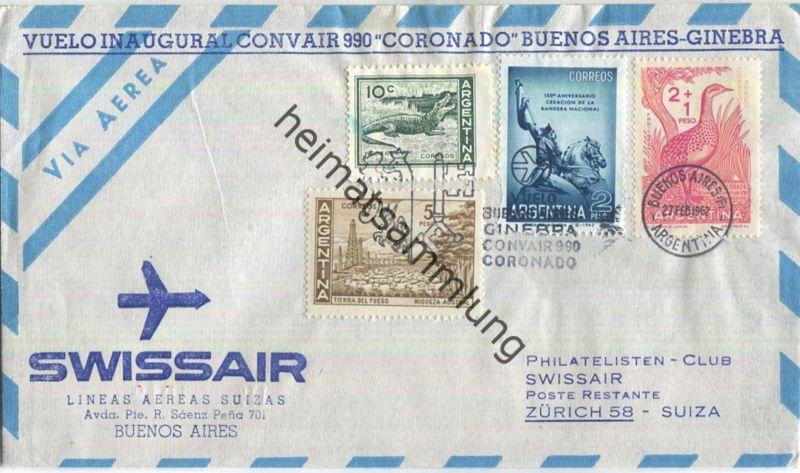 Swissair -Vuelo Inaugural Convair 990 - Buenos Aires-Zürich 1962