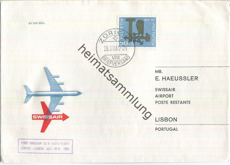 Swissair - First Jet Flight - DC 8 - Zürich-Lisbon 1960