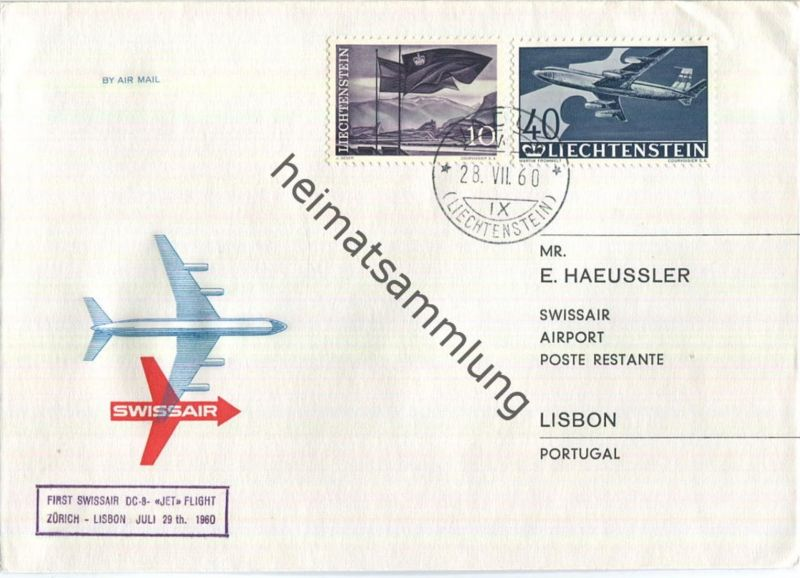 Swissair - First Jet Flight - DC 8 - Vaduz-Lisbon 1960