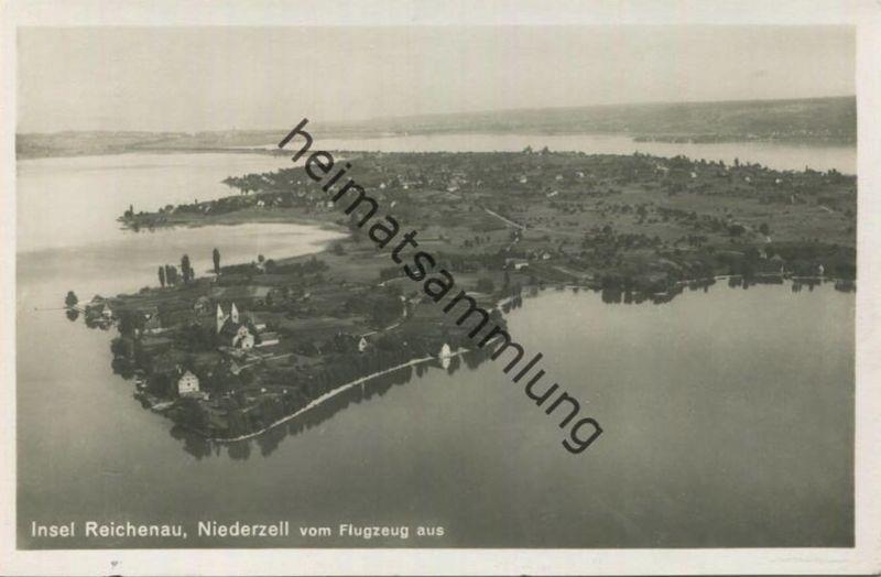 Insel Reichenau - Niederzell - Fliegeraufnahme - Foto-AK - Verlag A. Weber Stuttgart