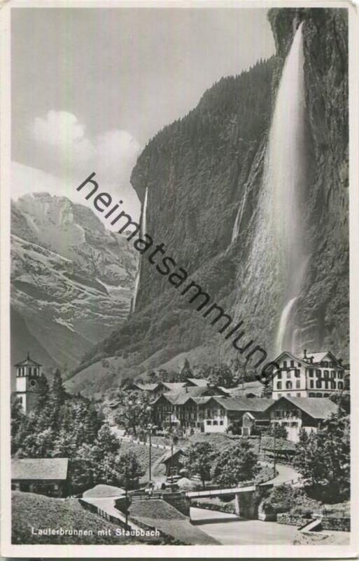Lauterbrunnen mit Staubbach - Foto-Ansichtskarte - Edition Photoglob-Wehrli & Vouga & Co. AG Zürich