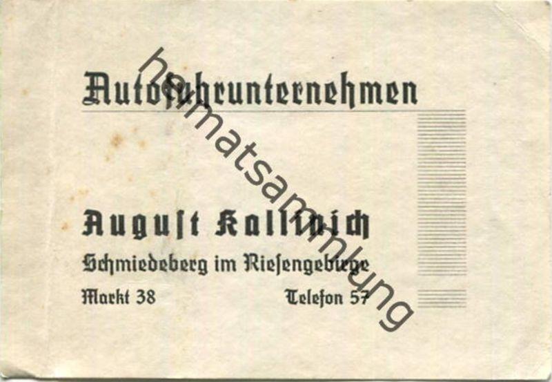 Tschechien - Visitenkarte - Autofuhrunternehmen - August Kallinich Schmiedeberg im Riesengebirge
