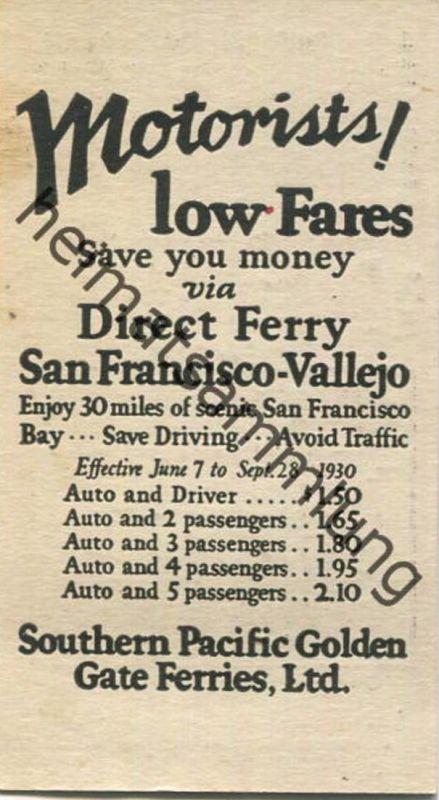 USA - Southern Pacific Golden Gate Ferries Ltd. - automobile traveling - Fahrplan für den Autotransport vom 7. Juni bis