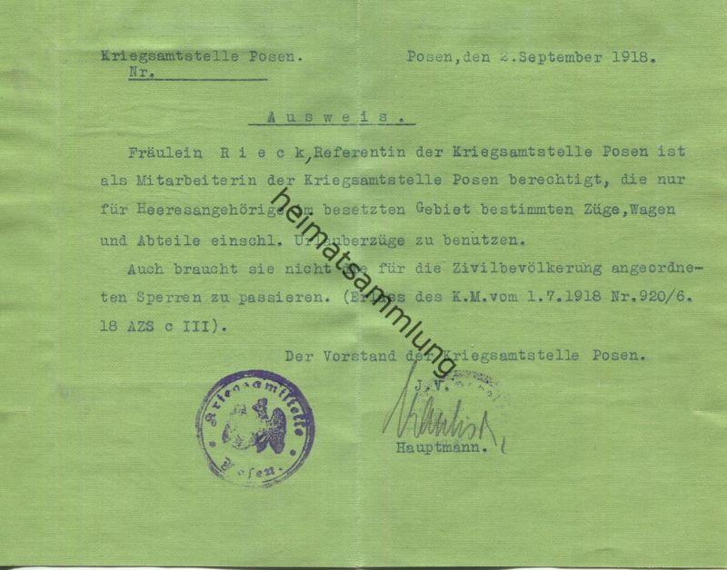 Posen Kriegsamtsstelle - Ausweis - Passierschein 1918