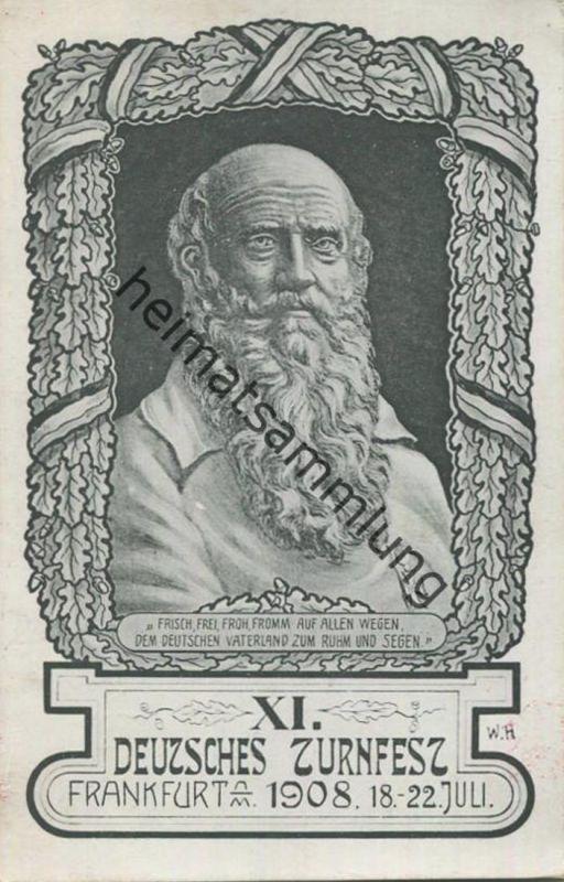 XI. Deutsches Turnfest Frankfurt am Main 1908 - rückseitig Werbezudruck Peter's  Union Pneumatic