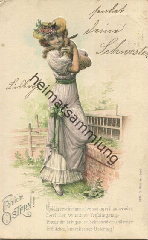 Fröhliche Ostern - Frau mit Hase - Prägedruck - gel. 1904