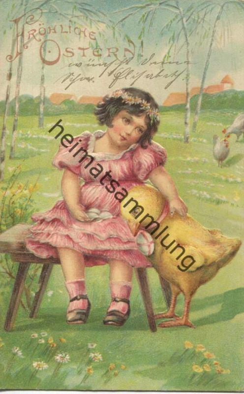 Fröhliche Ostern - Kind und Kücken - gel. 1905