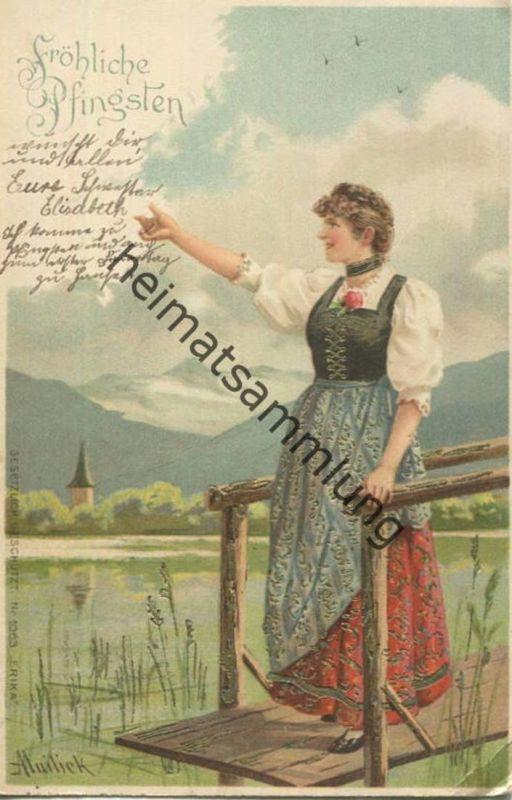 Fröhliche Pfingsten - Frau in Tracht am See - Künstlerkarte A. Mailick gel. 1902