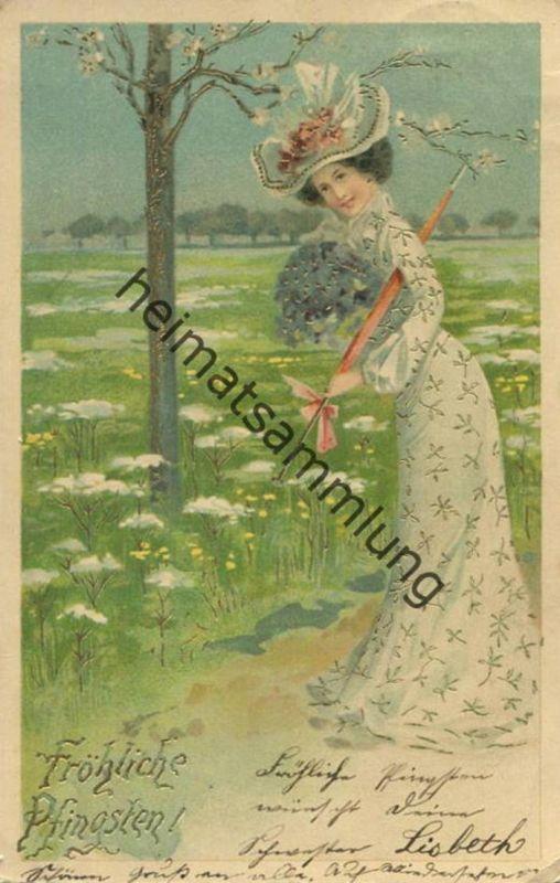 Fröhliche Pfingsten - Frau mit Hut und Regenschirm gel. 1903