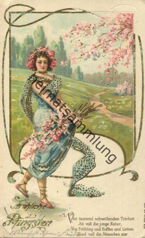 Fröhliche Pfingsten - Frau mit Blumenstrauss -  gel. 1904