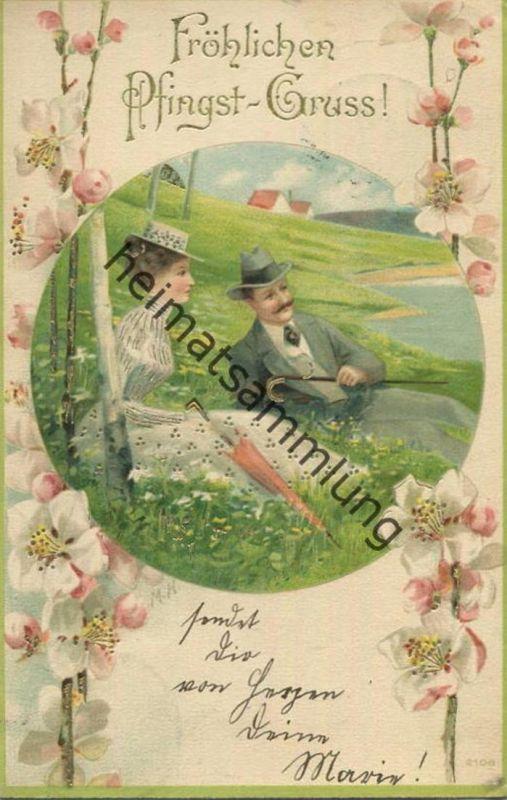 Fröhlichen Pfingst-Gruss - Paar auf der Wiese - gel. 1903