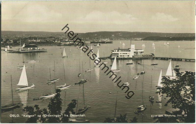 Olso - Kongen og Dronningen fra Oscarshall - Foto-Ansichtskarte 40er Jahre - Abel's Kunstforlag Oslo