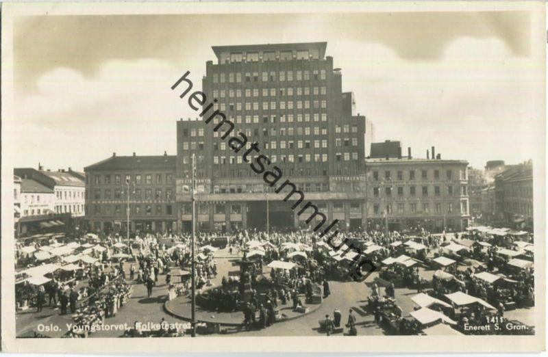 Oslo - Youngstorvet - Folketeatret - Foto-Ansichtskarte - Enerett S. Gran 40er Jahre