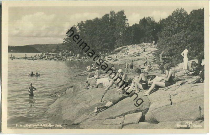 Fra Katten - Olsofjorden - Foto-Ansichtskarte - Enerett S. Gran 40er Jahre
