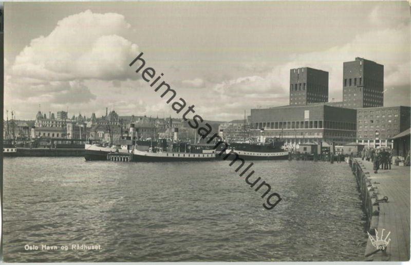 Oslo - Haven og Rathuset - Foto-AK 40er Jahre - Abel's Kunstforlag