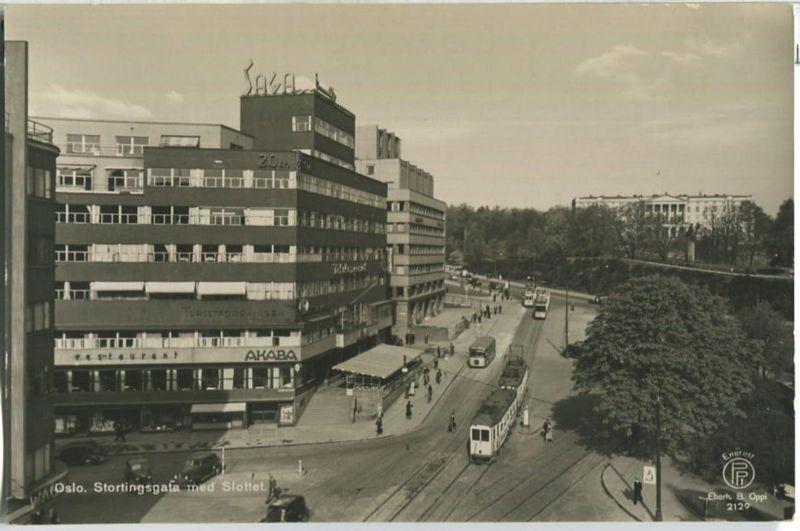 Oslo - Stortingsgata - Strassenbahn - Foto-AK 40er Jahre - Enerett Eberh. B. Oppi