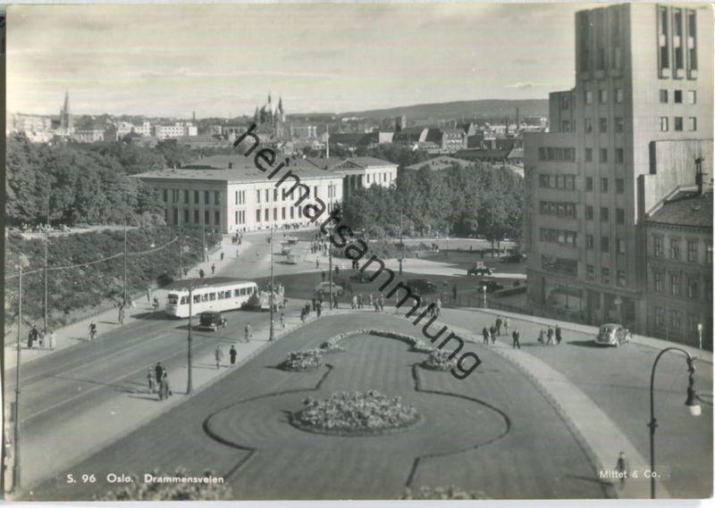 Oslo - Drammensveien - Strassenbahn - Foto-AK Grossformat 40er Jahre - Enerett Mittet & Co.