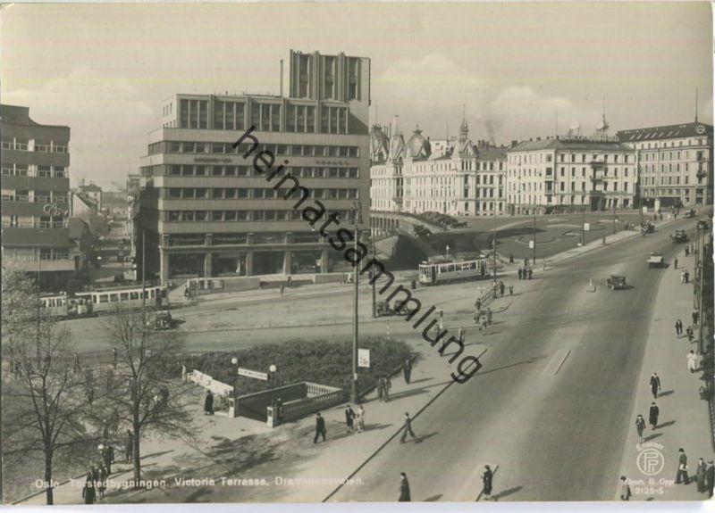 Oslo - Torstedbygningen - Victoria Terrasse - Drammensveien - Strassenbahn - Foto-AK Grossformat 40er Jahre