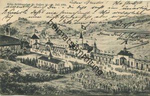 St. Gallen - Eidgenössisches Schützenfest 1904 - Gebrüder Metz Kunstverlagsanstalt Basel - rückseitig aufgeklebte Vignet