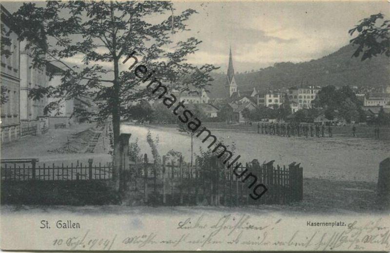 St. Gallen - Kasernenplatz - Verlag L. Kirschner-Engler St. Gallen gel. 1904