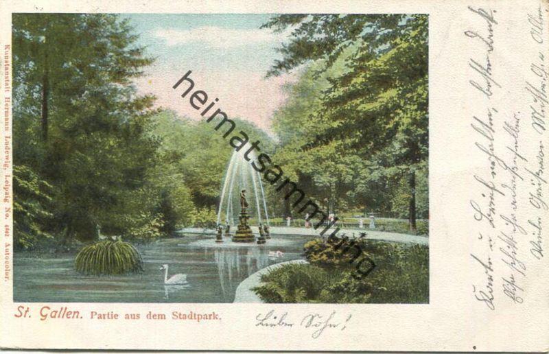 St. Gallen - Partie aus dem Stadtpark - Verlag Hermann Ludewig Leipzig gel. 1903